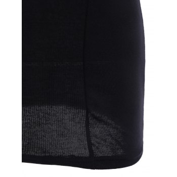 Women's Alluring Scoop Neck Backless Sleeveless Black Bodycon Dress - ONE SIZE ONE SIZE