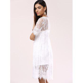 See-Through Lace Cover-Up Dress - WHITE ONE SIZE