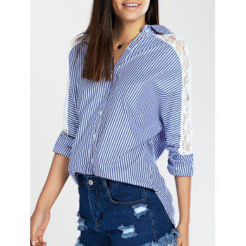 Lace Spliced Batwing Sleeve High-Low Striped Shirt