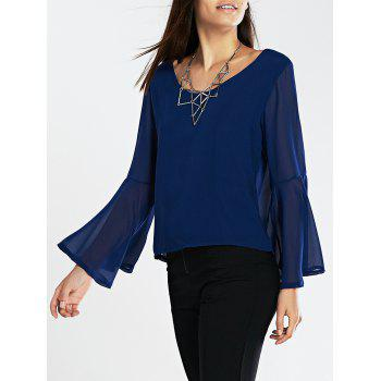 Flare Sleeves Loose-Fitting Blouse