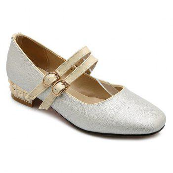 Trendy Sequined Cloth and Square Toe Design Women's Flat Shoes - SILVER 39