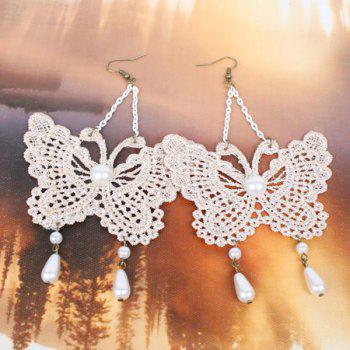 Pair of Faux Pearl Lace Butterfly Drop Earrings