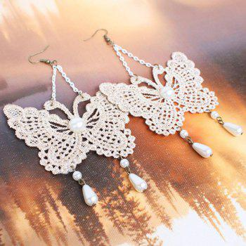 Pair of Faux Pearl Lace Butterfly Drop Earrings - WHITE