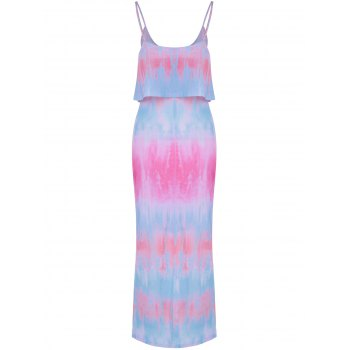 Fashionable Tie-Dyed Flounce Spaghetti Strap Faux Twinset Design Dress For Women - COLORMIX XL
