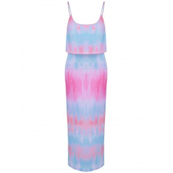 Fashionable Tie-Dyed Flounce Spaghetti Strap Faux Twinset Design Dress For Women