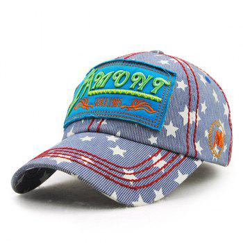 Chic Letter Embroidery Five-Pointed Star and Striped Link Chain Pattern Women's Baseball Hat