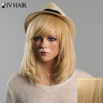 Trendy Straight Full Bang Siv Hair Medium Women's Human Hair Wig