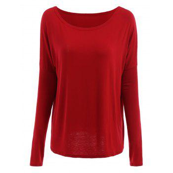 Solid Color Scoop Neck Loose T Shirt