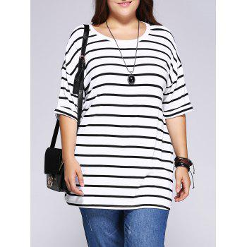 Casual Plus Size Striped Loose-Fitting T-Shirt