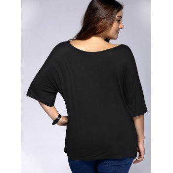 Casual Plus Size Arrows Print Loose Fitting T-Shirt - BLACK BLACK
