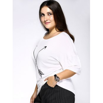Casual Plus Size Arrows Print Loose Fitting T-Shirt - WHITE WHITE