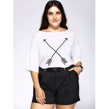 Casual Plus Size Arrows Print Loose Fitting T-Shirt - WHITE 2XL