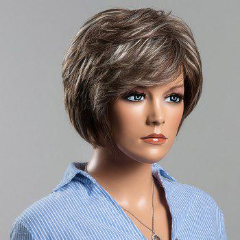 Trendy Straight Layered Human Hair Mixed Color Siv Hair Capless Wig For Women - COLORMIX