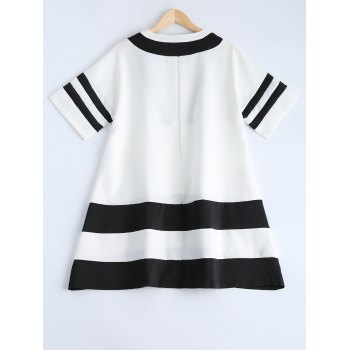 Stylish V Neck Loose-Fitting Spliced Dress For Women - WHITE ONE SIZE(FIT SIZE XS TO M)
