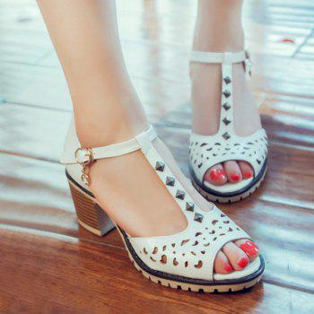 Sweet T-Strap and Peep Toe Design Women's Sandals