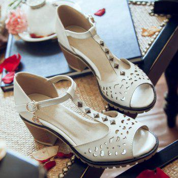Hollow Out Studded T-Strap Sandals - WHITE WHITE