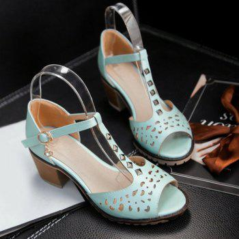 Hollow Out Studded T-Strap Sandals - 37 37