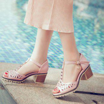 Hollow Out Studded T-Strap Sandals - PINK 37