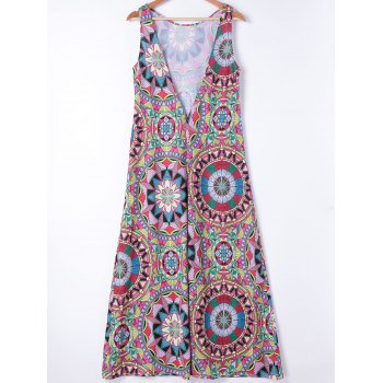 Ethnic Style Womens's Slimming Round Neck A-Line Dress - COLORMIX M