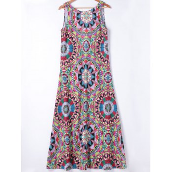 Ethnic Style Womens's Slimming Round Neck A-Line Dress