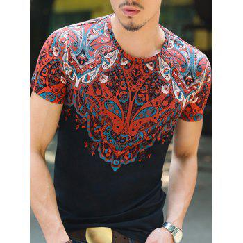 Baroque Round Neck Abstract Printing Slimming Men's Short Sleeves T-Shirt