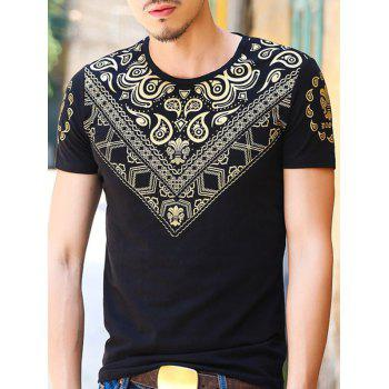 Gloden Geometric Paisley Printing Slimming Men's Round Neck Short Sleeves T-Shirt