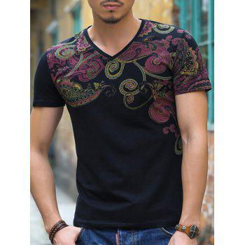 Chinoiserie V-Neck Floral Printing Slimming Men's Short Sleeves T-Shirt
