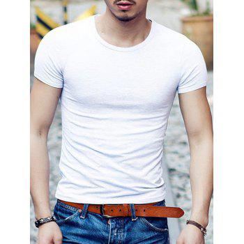 Slimming Round Neck Solid Color Men's Short Sleeves T-Shirt
