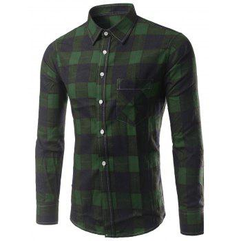 Plaid Long Sleeve Slimming Men's Shirt