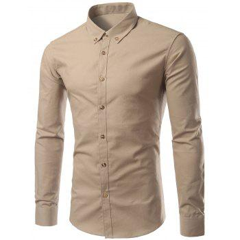 Plus Size Button-Down Long Sleeve Slimming Men's Shirt