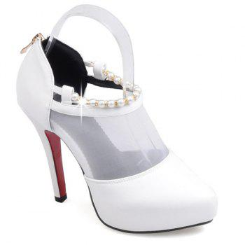 Graceful Beading and Splicing Design Women's Pumps - WHITE 37