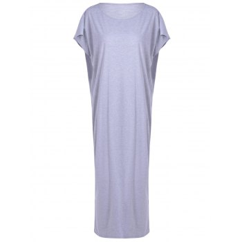 Casual Women's Loose-Fitting Round Neck Openwork Dress
