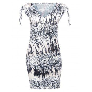 Trendy V-Neck Snakeskin Print Skinny Women's Dress