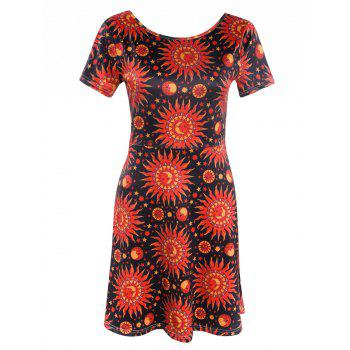 Fashionable Short Sleeve Sun Print Women's Mini Dress