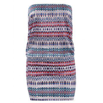 Strapless Geometric Print Bodycon Dress