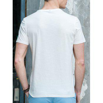 Men's Round Neck Solid Color Abstract Printed Short Sleeve T-Shirt - WHITE 2XL