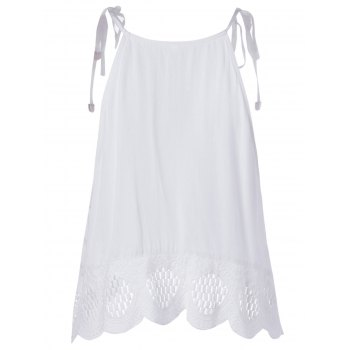 Ethnic Style Women's Slimming Spaghetti Strap Lace-up Top - WHITE L