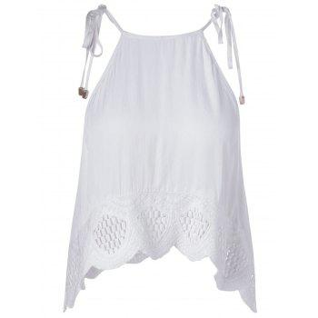 Ethnic Style Women's Slimming Spaghetti Strap Lace-up Top - WHITE XL