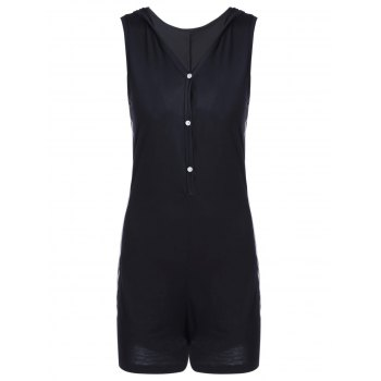 Casual Women's Fitted V-Neck Solid Color Romper - BLACK XL