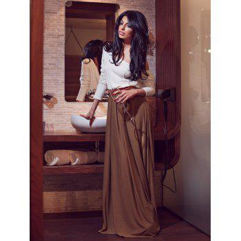 700a810849a  41% OFF  2019 Alluring Skew Neck Long Sleeve Backless Maxi Draped Dress In  KHAKI