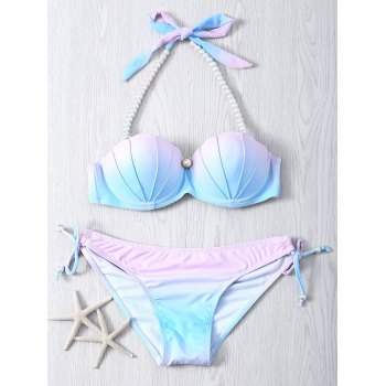 Sweet Color Ombre Beaded Halter Neck Bikini Set
