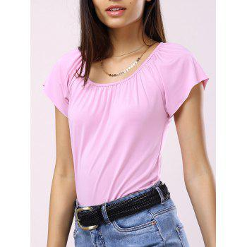 Scoop Neck Solid Color Pleated T Shirt
