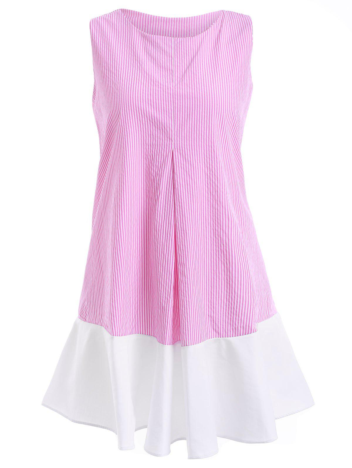 Chic Round Neck Sleeveless Pinstripe Flounce Women's Dress - PINK ONE SIZE(FIT SIZE XS TO M)