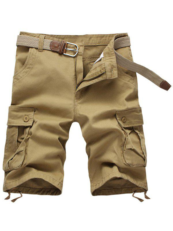 Zipper Fly Solid Color Multi-Pockets Men's Cargo Shorts - KHAKI 40