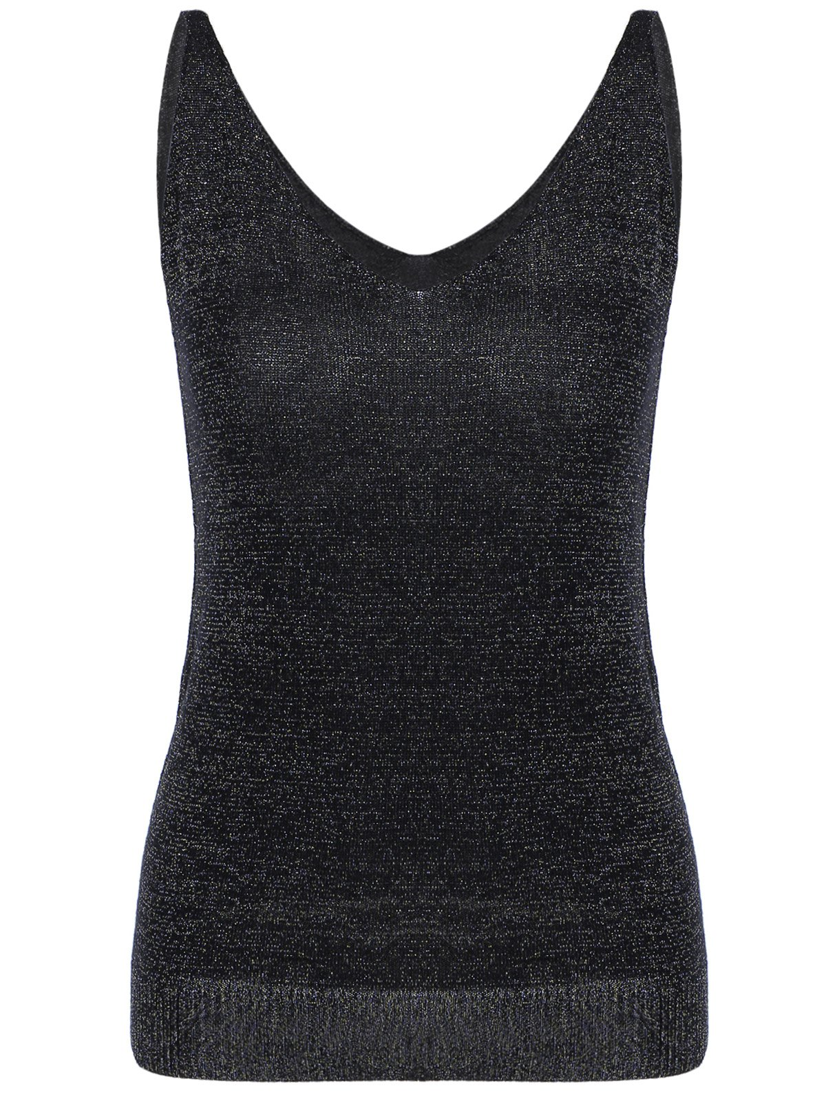 V-Neck Pure Color Knitted Tank Top