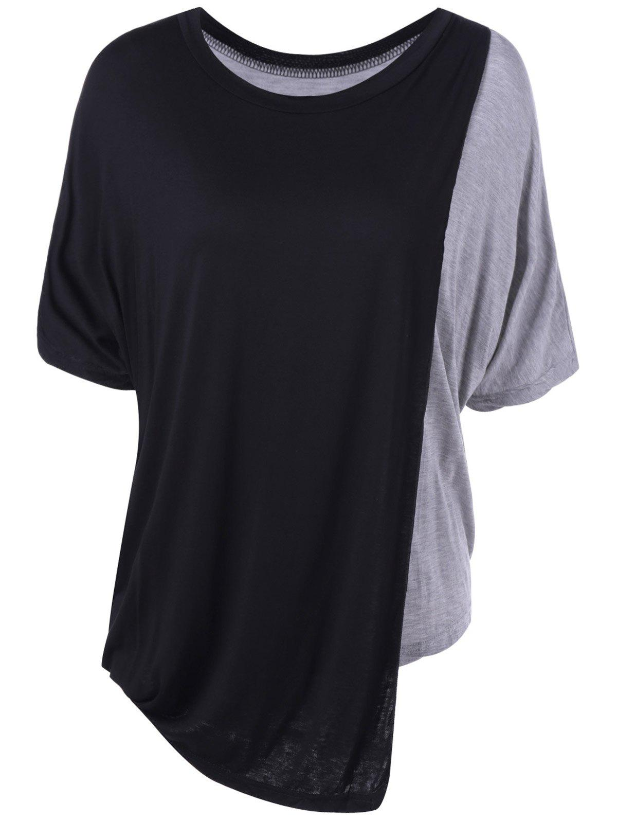 Simple Women's Round Neck Color Block Top - BLACK/GREY ONE SIZE(FIT SIZE XS TO M)
