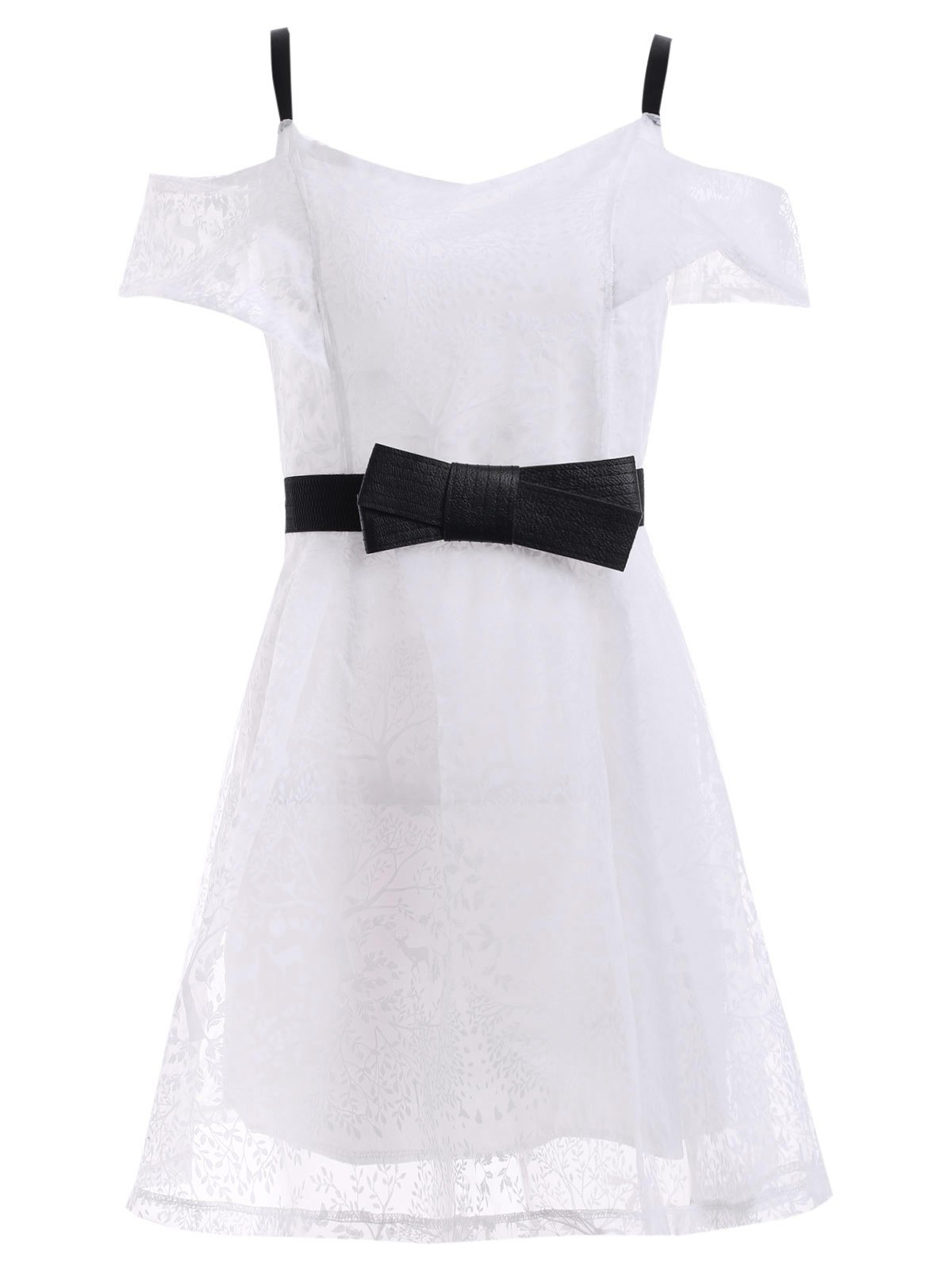Stylish Cold Shoulder A-Line Women's Dress - WHITE ONE SIZE(FIT SIZE XS TO M)