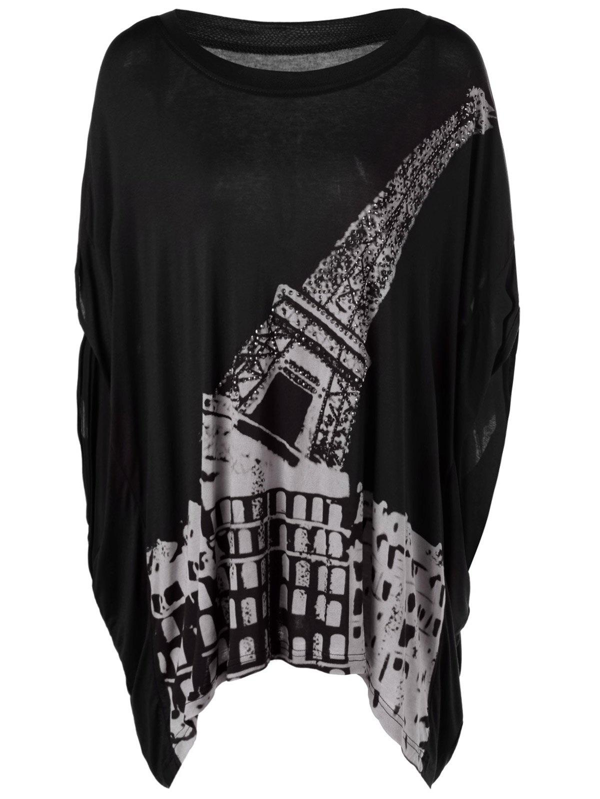 Casual Women's RoundNeck Print Short Sleeves Top - BLACK ONE SIZE(FIT SIZE XS TO M)