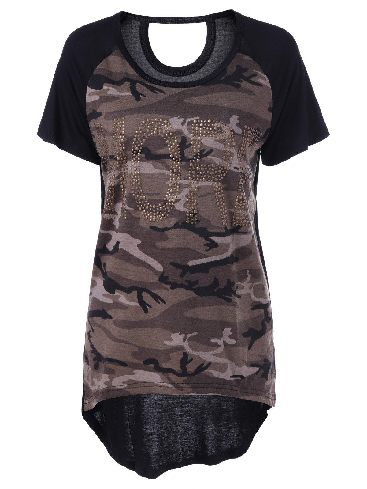 Casual Women's ScoopNeck Camouflage Short Sleeves Top - BLACK ONE SIZE(FIT SIZE XS TO M)