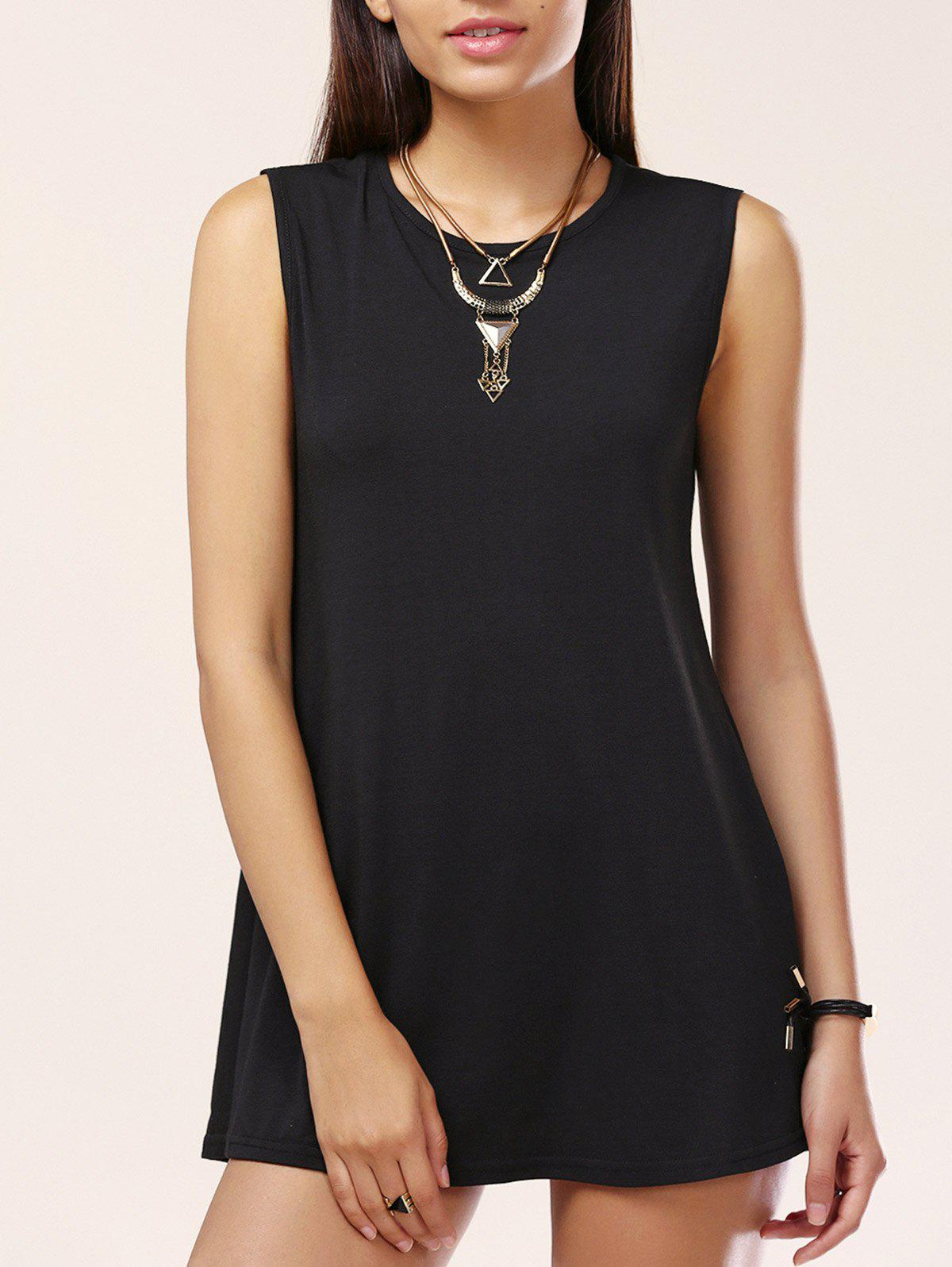 Brief Sleeveless Solid Color Women's Mini Dress - BLACK L